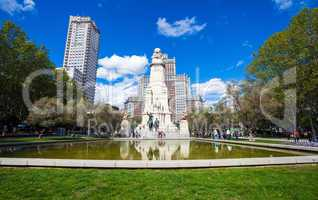 Spain Square with monument to Cervantes, Torre de Madrid and Edi