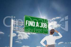 Find a job against cloudy sky with sunshine