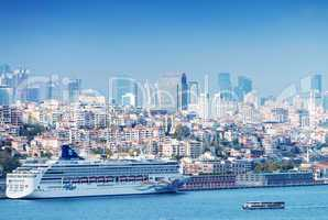 ISTANBUL - SEPTEMBER 16, 2014: Cruise ship anchored in city port