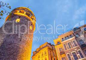 Magnificence of Galata Tower in Beyoglu, Istanbul, Turkey