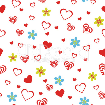 Seamless pattern with hearts and flowers