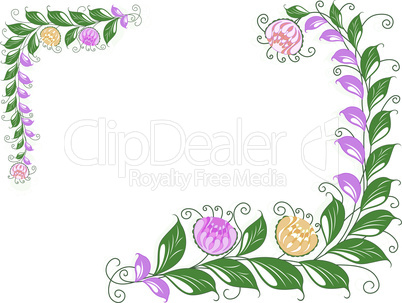 Floral swirl postcard with flowering liana