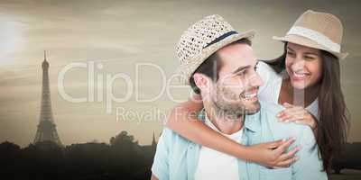 Composite image of happy casual man giving pretty girlfriend pig