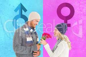 Composite image of attractive man in winter fashion offering ros