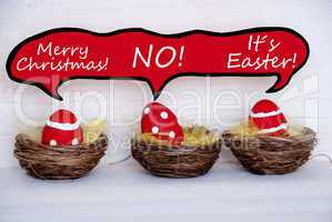 Three Red Easter Eggs With Comic Speech Balloon Telling A Joke