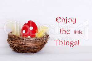 One Red Easter Egg In Nest With Life Quote Enjoy Little Things