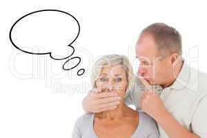 Composite image of man silencing his fearful partner