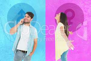 Composite image of happy casual woman spreading her arms