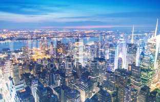 New York. Manhattan night skyline