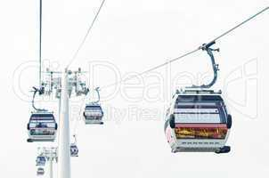 LONDON, UK - SEPTEMBER 28, 2013: Thames cable car operated by Em