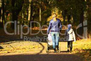 woman with perambulator and elder child in the park