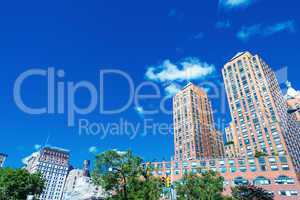 Buildings and trees in Union Square on a beautiful day, New York
