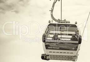 LONDON - AUG 24: Visitors travel on the Emirates cable car. The
