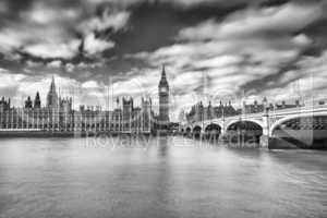 Blurred movements along Westminster Bridge, London
