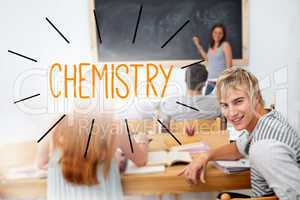 Chemistry against students in a classroom