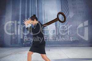 Composite image of wound up businesswoman gesturing