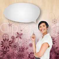 Composite image of thoughtful businesswoman with speech bubble