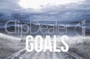 Goals against stony path leading to large misty mountains