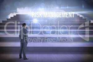 Risk management against steps against blue sky