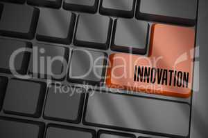 Innovation on black keyboard with brown key