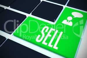 Sell on black keyboard with green key