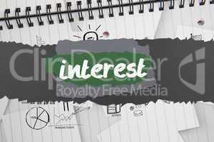 Interest against brainstorm doodles on notepad paper