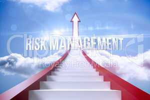 Risk management against red steps arrow pointing up against sky