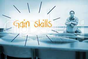 Gain skills against lecturer sitting in lecture hall