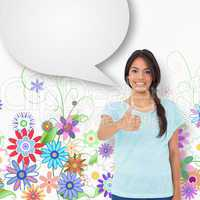 Composite image of happy brunette giving thumbs up with speech b
