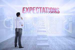 Expectations against city scene in a room