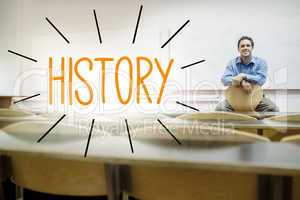 History against lecturer sitting in lecture hall