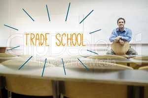 Trade school against lecturer sitting in lecture hall
