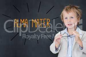 Alma mater against schoolboy and blackboard