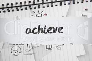 Achieve against brainstorm doodles on notepad paper