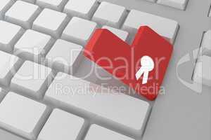 Composite image of merit badge on key