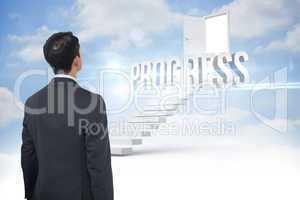 Progress against steps leading to open door in the sky