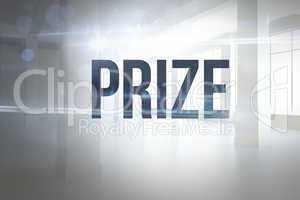 Prize against white room with windows