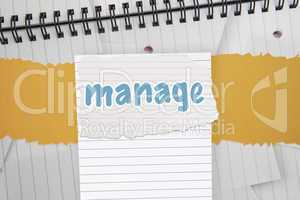 Manage against digitally generated notepad with lined paper