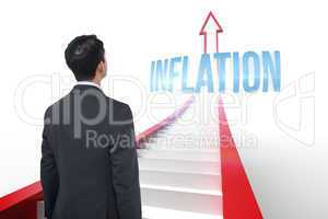 Inflation against red arrow with steps graphic