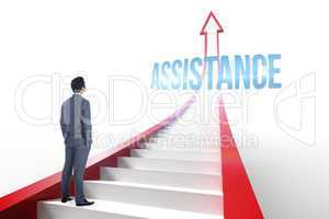 Assistance against red arrow with steps graphic