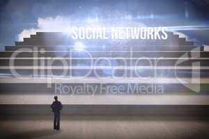 Social networks against steps against blue sky
