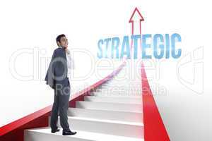 Strategic against red arrow with steps graphic