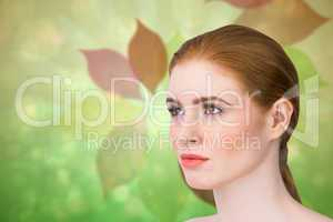 Composite image of beautiful redhead posing with hair tied