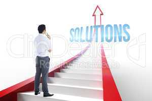 Solutions against red arrow with steps graphic