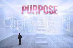 Purpose against city scene in a room