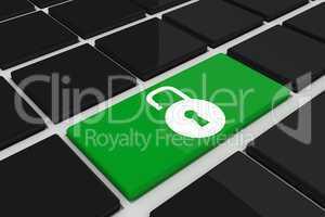 Composite image of lock on key
