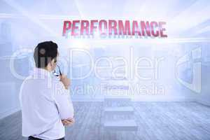 Performance against city scene in a room