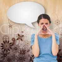 Composite image of pretty brunette shouting with speech bubble