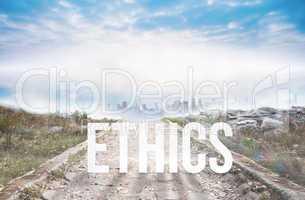 Ethics against stony path leading to misty cityscape