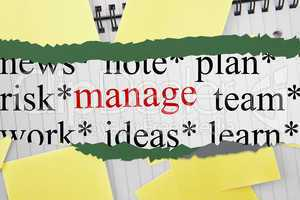 Manage against sticky notes strewn over notepad